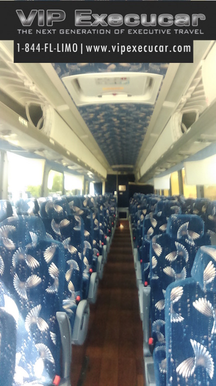 Our newest charter bus is a 2015 MCI. It is fully loaded with all the latest bell and whistles including a luxury seats