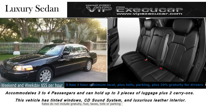 Town Car Sedan:The king of the Luxury Lincoln sedans limo service  4-door is a full-size luxury executive sedan. Comfortably seating 2-3 passengers with normal luggage.