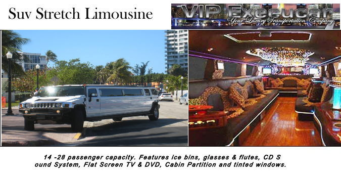 Hummer Limo: The king of the Stretch Limousines service, seats 12/20 Passengers in luxurious interior, High Powered Custom Sound Systems, Rock Star LightShow.Hummerr Limo Miami provides elegant, dependable luxury transportation/from Boca To Miamii area airports.
